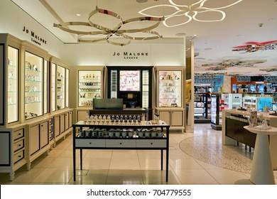 DOHA, QATAR - CIRCA MAY, 2017: Jo Malone store at Hamad International Airport of Doha. Jo Malone London is a British perfume and scented candle brand.