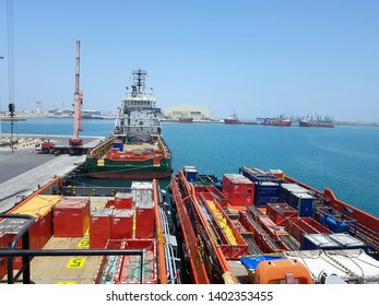 Doha, Qatar, dated 14th May 2019. Cargo operations ongoing onboard supply vessel working for offshore platforms. Logistics background in Oil and Gas industry.