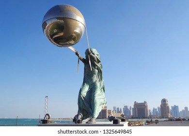 Doha, Qatar, dated 20 Feb 2019. Picture of 'The Force of Nature', as its name suggests it symbolizes human strength and determination against all odds. Mixture of bronze, aluminium, and steel.
