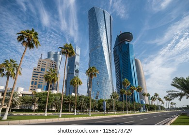 DOHA, QATAR - DEC 12, 2018: High rise properties on West Bay occupied by oil and Gas businesses plus banks and residential apartments in downtown Doha the capital city of Qatar, Middle East.
