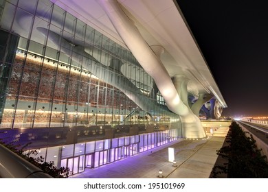 DOHA, QATAR - DEC 14: National Convention Centre in Doha illuminated at night.vDecember 14, 2013 in Doha, Qatar, Middle East