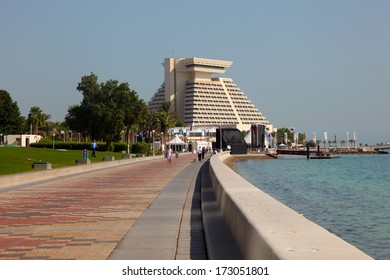 DOHA, QATAR - DEC 14: Sheraton hotel on the corniche in Doha. December 14, 2013 in Doha, Qatar, Middle East