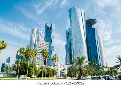 DOHA, QATAR - DEC 26: Doha's Corniche in West Bay on Dec 26, 2018 in Doha, Qatar. The Doha Corniche is a popular location with remarkable modern architecture.