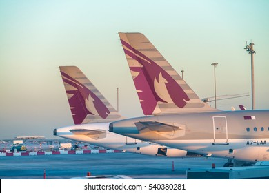 DOHA, QATAR - DECEMBER 12, 2016: Qatar Airways airplanes on the ground. Qatar Airways is a major company in middle east.