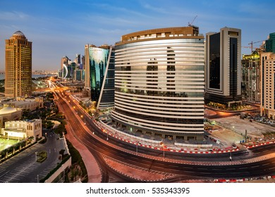 DOHA, QATAR - FEB 12: A skyline view on Feb 12, 2015 in Doha, Qatar. Doha, the capital of Qatar, is rapidly expanding it's infrastructure as it gears up for the 2022 FIFA World Cup