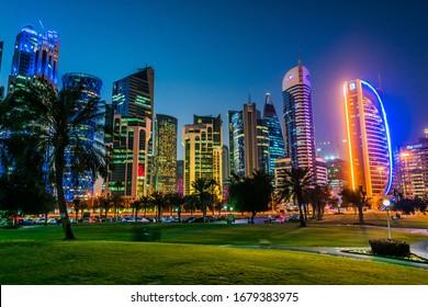 DOHA, QATAR - FEB 26, 2020: Downtown waterfront of Doha, Qatar after sunset