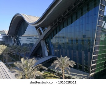 DOHA, QATAR - FEB 4 : Exterior of Hamad International Airport in Doha, February 4, 2018 in Doha, Qatar, Middle East.