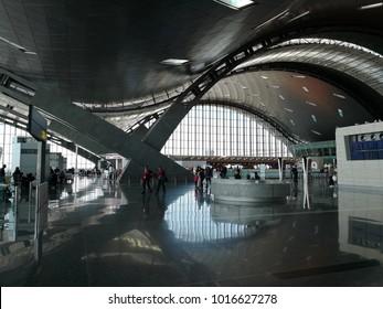 DOHA, QATAR - FEB 4: Interior of Hamad International Airport in Doha, February 4, 2018 in Doha, Qatar, Middle East.