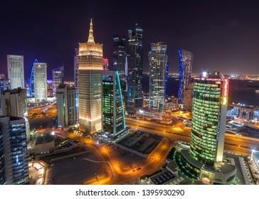Doha, Qatar February 02, 2019 Beautiful Night City Scap of City