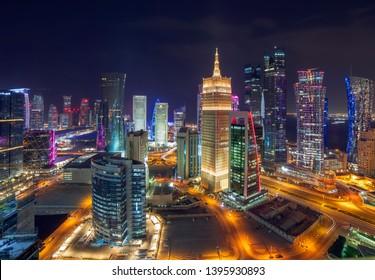 Doha, Qatar February 02, 2019 Beautiful Night City Scap of Doha City