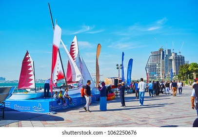 DOHA, QATAR - FEBRUARY 13, 2018: The Maritime fair in West Bay neighborhood has been held within the framework of the Day of Sport, on February 13 in Doha.