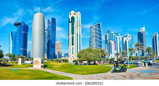DOHA, QATAR - FEBRUARY 13, 2018: The view on skyscrapers of Al Dafna business district from the Sheraton Park in West Bay neighborhood, on February 13 in Doha.