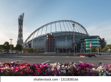 DOHA, QATAR - FEBRUARY 13: The Khalifa International Stadium and Aspire Tower on February 13, 2019 in Doha, Qatar. The stadium will play a central role in the 2022 Fifa football World Cup.