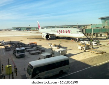 Doha, Qatar - February 16, 2020: Qatar Aircraft preparation for departure in the Hamad International Airpor in Doha, Qatar.