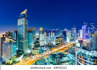 DOHA, QATAR - February 18, 2016: The skyline of the West Bay area of Doha  on February 17, 2016 in Doha, Qatar.
