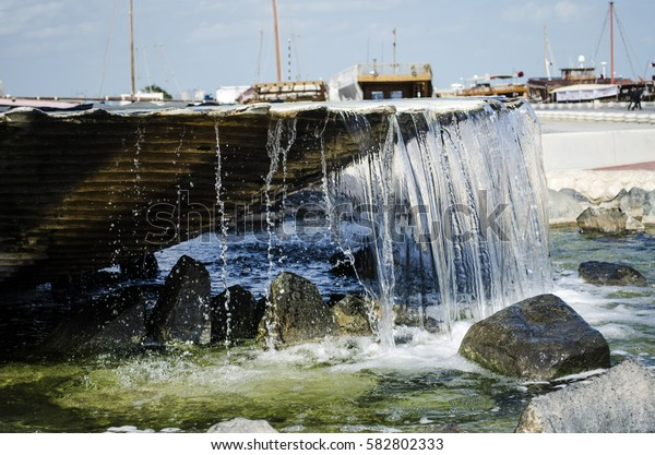DOHA, QATAR - FEBRUARY 18: PEARL FOUNTAIN at the West bay of Doha on February 18-2017 in Doha, Qatar, Middle-East.