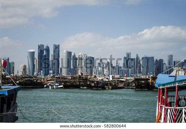 DOHA, QATAR - FEBRUARY 18: The West Bay City skyline on September 18-2017 in Doha, Qatar, Middle-East.