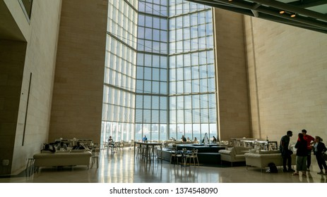 Doha, Qatar - February 2019: Inside view of the iconic Museum of Islamic Art building designed by architect I. M. Pei.