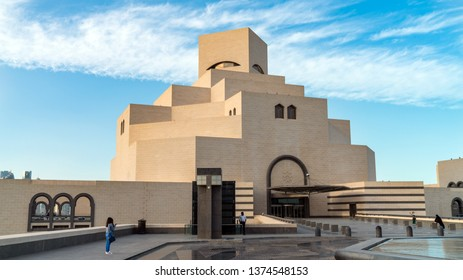 Doha, Qatar - February 2019: Museum of Islamic Art. The building was designed by architect I. M. Pei is located on the Doha Corniche.