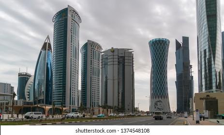 Doha, Qatar - February 2019: Skyscrapers in Financial District skyline in West Bay, Doha, Qatar