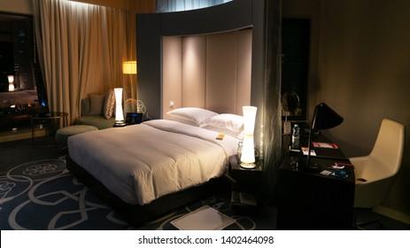 Doha, Qatar - February 2019: W Hotel room in Qatar
