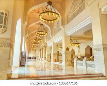 Doha, Qatar - February 21, 2019: inside of Imam Abdul Wahhab Mosque with lit chandeliers. State Qatar Grand Mosque in Middle East, Arabian Peninsula. The Grand Mosque is located in West Bay.