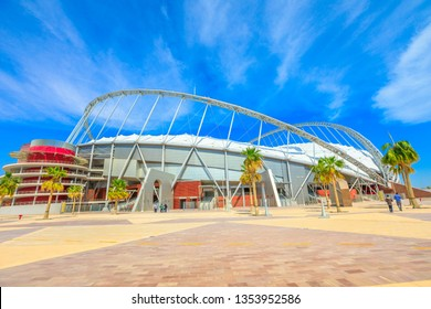 Doha, Qatar - February 21, 2019: Khalifa National Stadium the main stadium of Qatar in Aspire Park, will host the 2022 World Cup. Finally completed and renovated, fully covered with air conditioning.