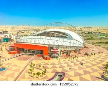 Doha, Qatar - February 21, 2019: aerial view of Khalifa International Stadium or National Stadium, Qatar's principal football stadium in Aspire Park. The stadium will host of 2022 FIFA World Cup.