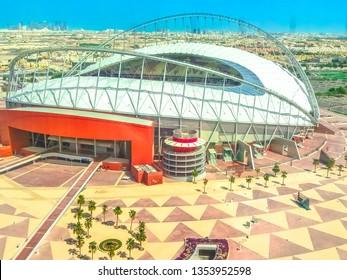 Doha, Qatar - February 21, 2019: closeup of top view of Khalifa International Stadium, Qatar's principal football stadium in Aspire Park. The stadium will host of 2022 FIFA World Cup.