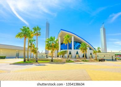 Doha, Qatar - February 21, 2019: Aspire Masjid Mosque at Aspire Zone in Doha Sports City. Sunny day with blue sky.