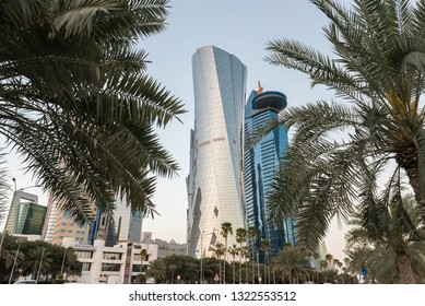 DOHA, QATAR - FEBRUARY 25: Tall buildings of the West Bay on February 25, 2019 in Doha, Qatar, Middle East.