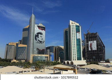 DOHA, QATAR - FEBRUARY 5, 2018: Giant images of Emir Tamim  al-Thani adorn skyscrapers in the Qatari capital . On Feb 2 the Defence Minister said the UAE and Saudi Arabia had planned to invade in 2017
