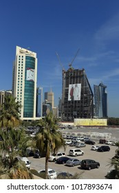 DOHA, QATAR - FEBRUARY 5, 2018: images of Emir Tamim al-Thani on towers  in the Emirate's crisis with its neighbors. On Feb 2 the Defence minister said the UAE and Saudi had planned to invade in 2017