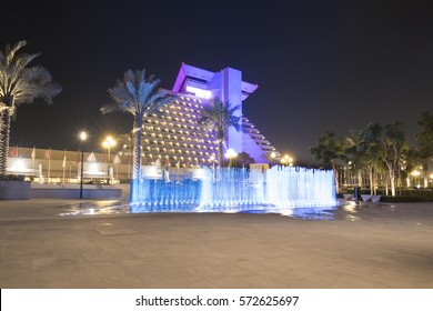 DOHA, QATAR - FEBRUARY 6: The Sheraton hotel illuminated at night. February 6, 2017 in Doha, Qatar, Middle East