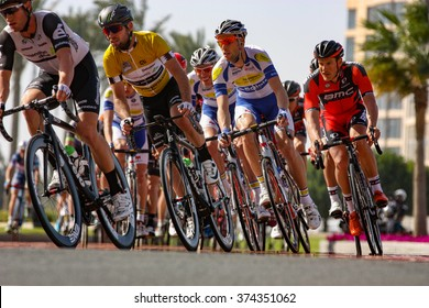 DOHA, QATAR -- FEBRUARY 9, 2016: Race leader Mark Cavendish found himself in a group 14 seconds down as the peloton entered The Pearl for four circuits during stage 2 of the 2016 Tour of Qatar.