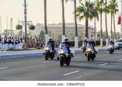 DOHA, QATAR - JAN 17 2019: Qatar National Day is a national commemoration of Qatar's unification in 1878. It's celebrated annually on 18 December. Taken on the 18th December 2018, national day parade.
