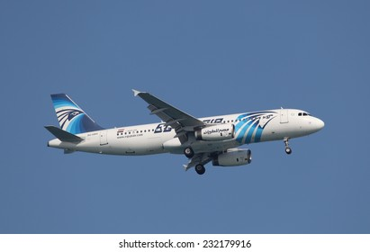 DOHA, QATAR - JAN 8: Egyptair Airbus A320-200 in the air over Doha. January 8, 2012 in Doha, Qatar, Middle East