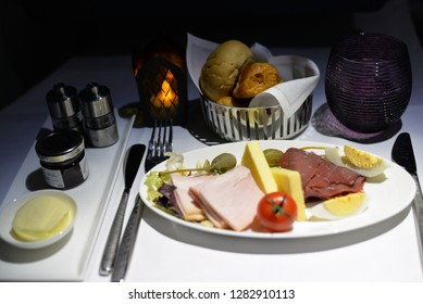 Doha, Qatar – January 1, 2019:  Cold Cut Meat and Cheese Breakfast, In-flight Catering, Qatar Airways, Hamad International Airport, Doha, Qatar, Middle East