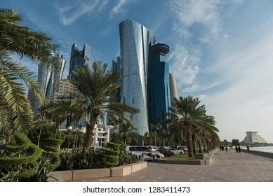 DOHA, QATAR - JANUARY 14: West Bay Doha on January 14, 2019 in Doha, Qatar, Middle East.