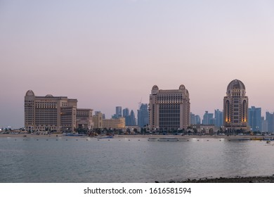 DOHA, QATAR - JANUARY 15, 2020: The St Regis Doha is an upscale luxury hotel located on Doha West Bay in the capital of Qatar.