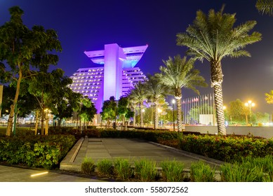 DOHA, QATAR - January 17,2017: A 5-star luxury business hotel in Doha, centrally located on the shores of West Bay and the blue waters of the Arabian Gulf.