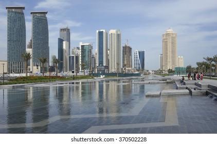 Doha, Qatar - January 22, 2016: Modern buildings and park Sheraton in Doha