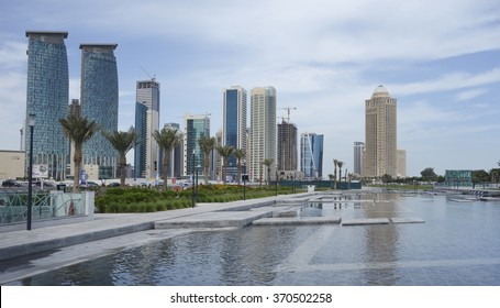 Doha, Qatar - January 22, 2016: Modern buildings and park Sheraton in Doha