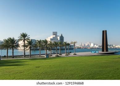 DOHA, QATAR - JANUARY 22: The Museum of Islamic Art park on January 22, 2019 in Doha, Qatar, Middle East.