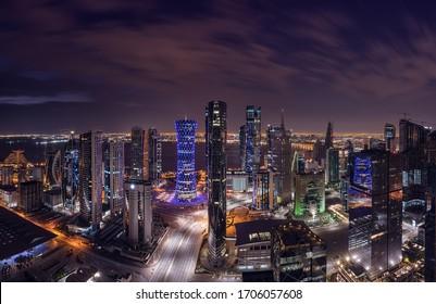 Doha, Qatar - January 24, 2020: Panoramic Cityscape Aerial view of  west bay Doha City