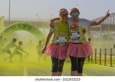 Doha, Qatar - January 27 2018: People participating in the Color Run. The Color Run is a worldwide hosted 5K fun race