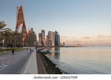 DOHA, QATAR - JANUARY 27: Doha West Bay on January 27, 2019, Qatar, Middle East.