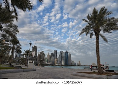 DOHA QATAR JANUARY 27TH :view of qatar cornice in a cloudy weather on January 27th 2018.