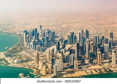DOHA, QATAR - January 3, 2015: Aerial photography of Doha buildings in Doha, Qatar. This northern area is a large urban development and the central business district of Doha, Qatar.