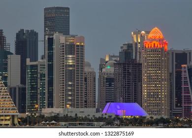 DOHA, QATAR - January 30, 2017: View across Doha Bay.